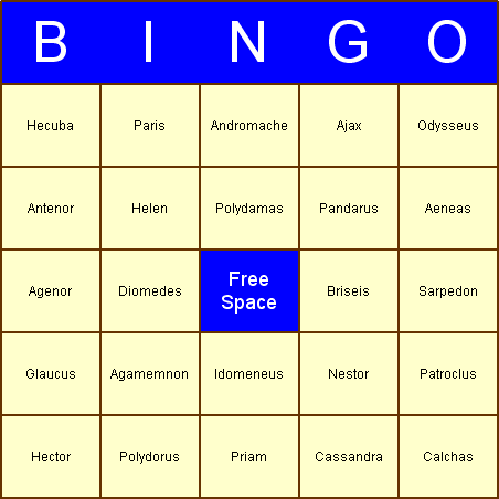Illiad Bingo Card