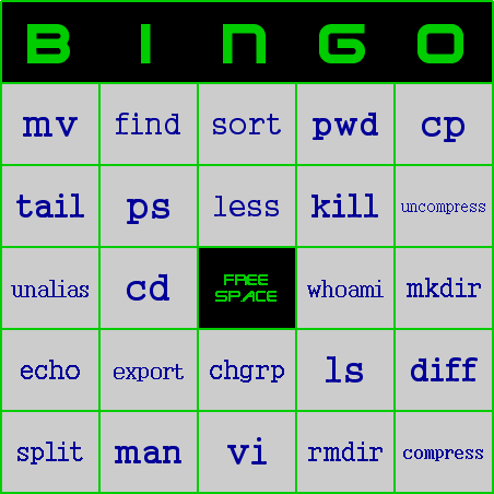 UNIX Shell Bingo Card