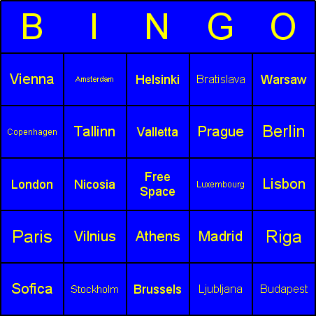 European Union capitals Bingo Card