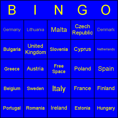 European Union countries Bingo Card
