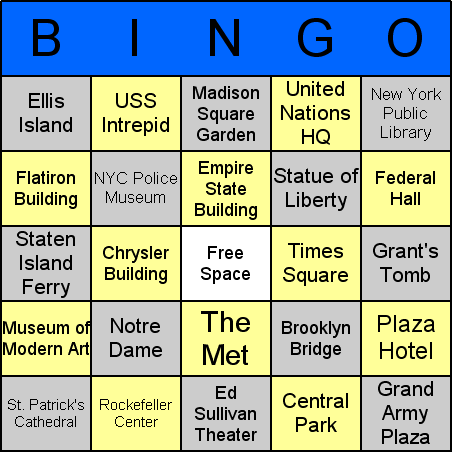 New York landmarks Bingo Card
