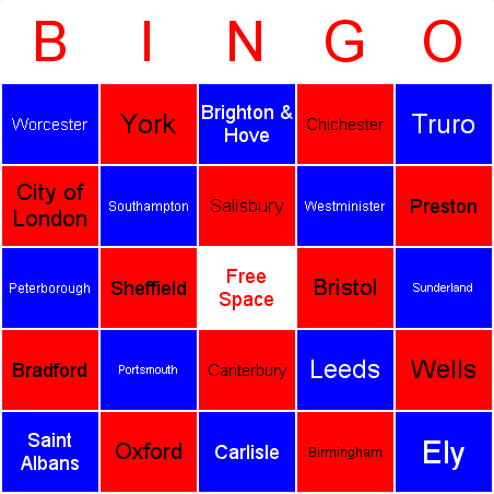 UK cities Bingo Card