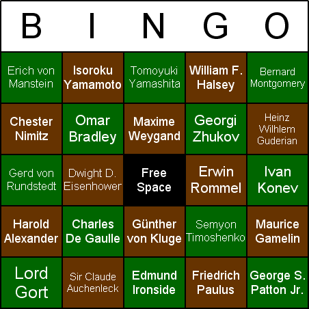 World War II Generals & Admirals Bingo Card