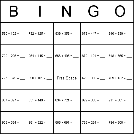 Addition Bingo Card