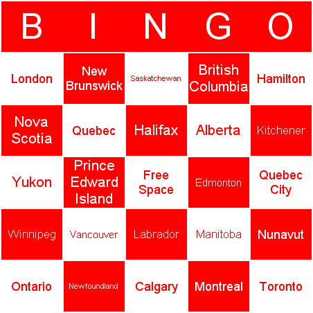 Canadian geography Bingo Card