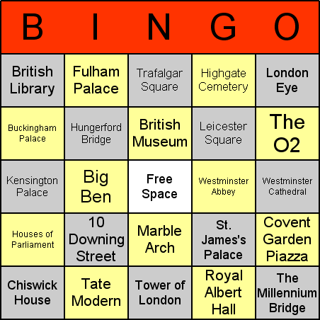 London landmarks Bingo Card