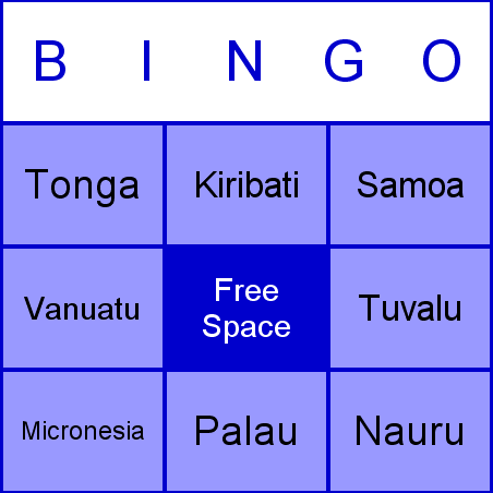 Oceanian countries Bingo Card