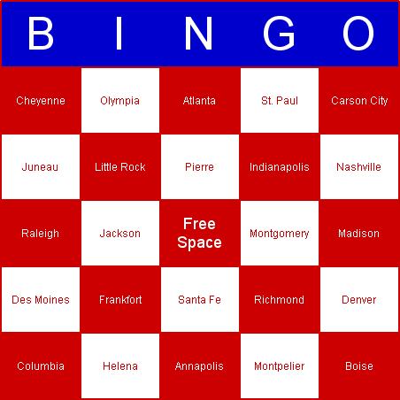 US State capitals Bingo Card