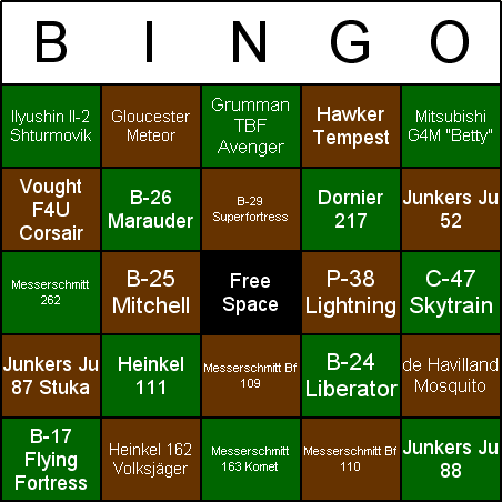 World War II Aircraft Bingo Card